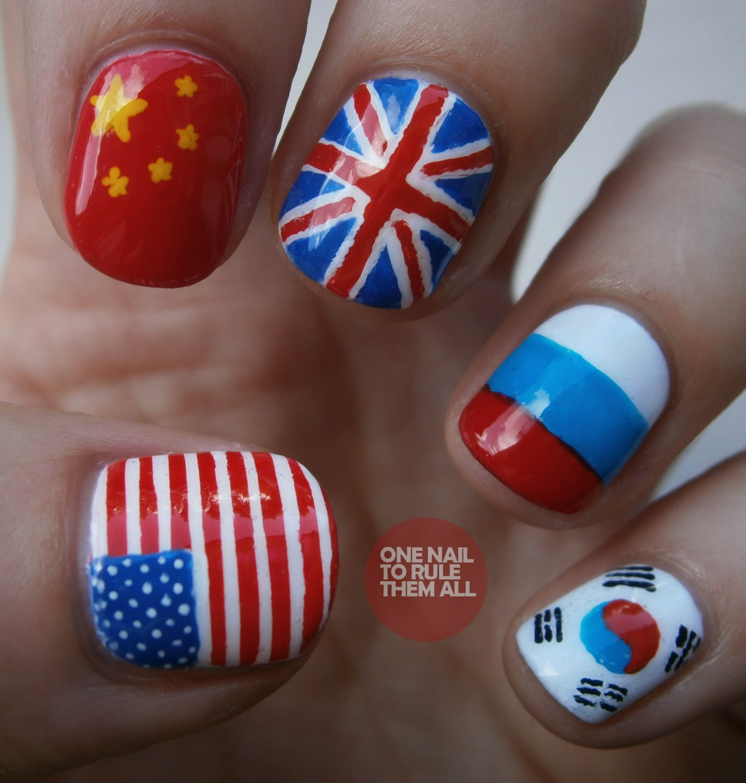 Korean Flag Nail Art T
