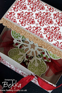 Adorable Box for a Home Made Christmas Ornament featuring Stampin' Up! Product designed by Bekka www.feeling-crafty.co.uk