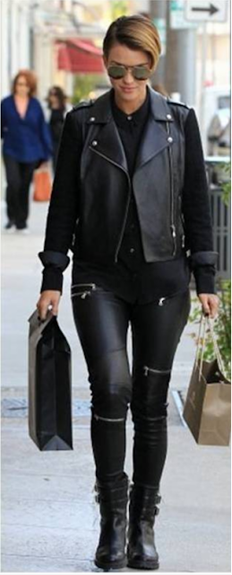 Ruby Rose Black Leather Pants