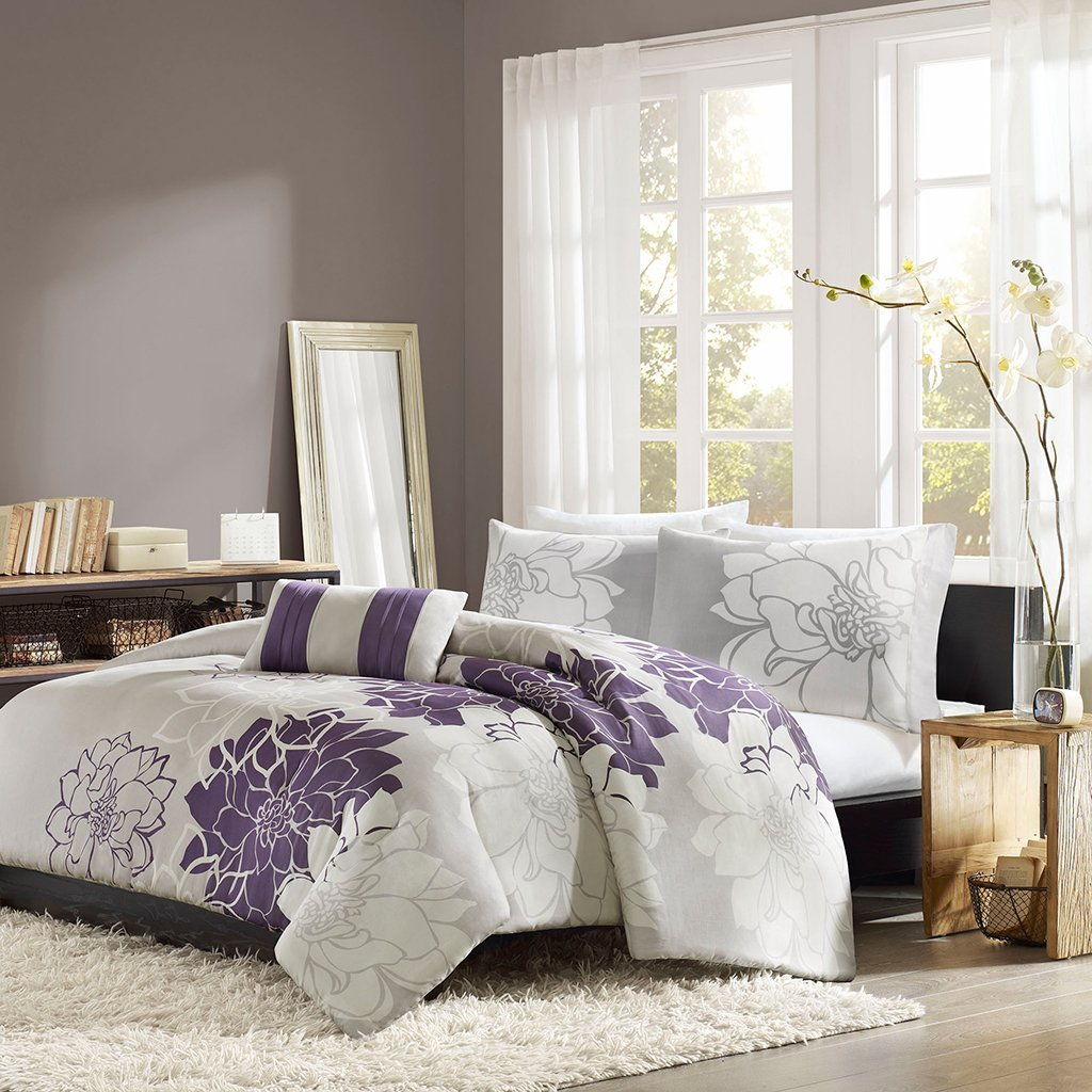 Grey Based Bedding With Purple And White Accents