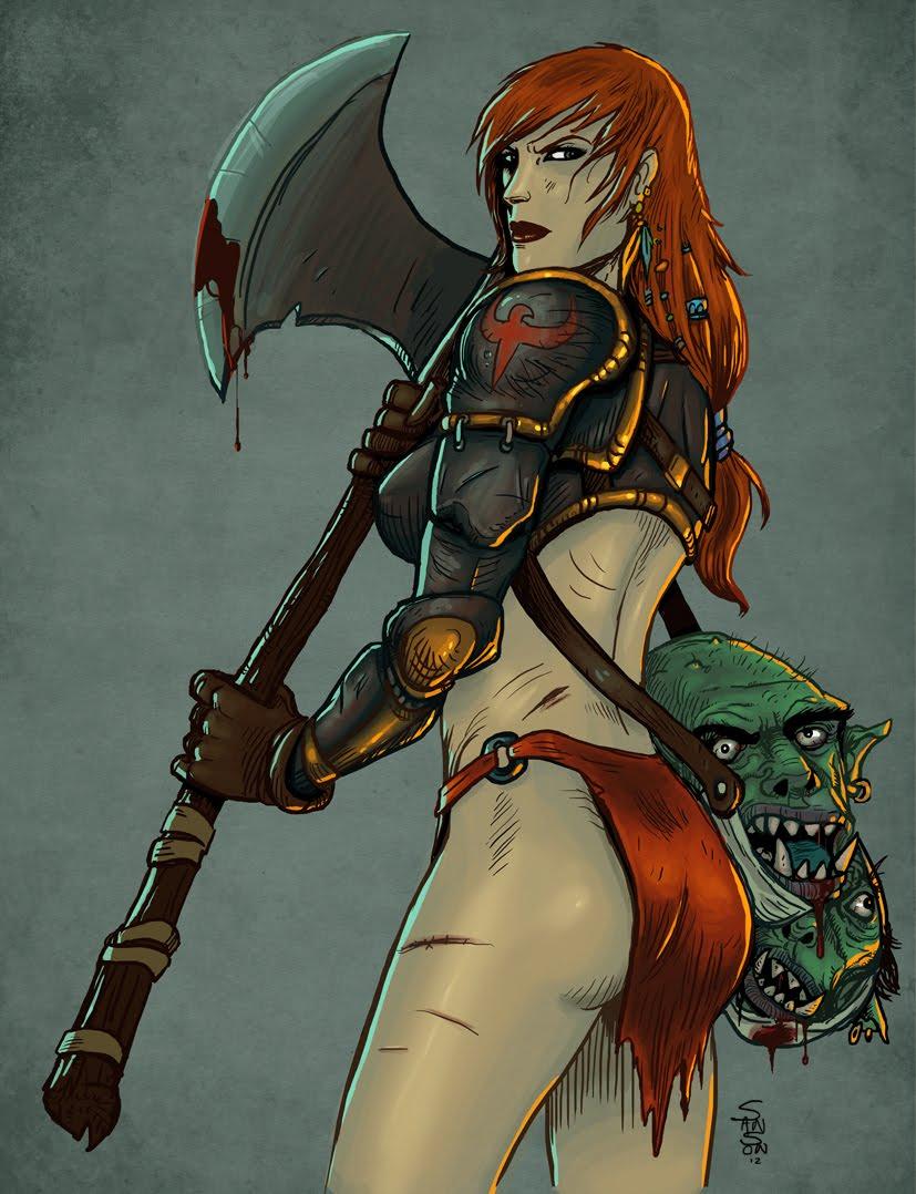 Illustration style fantasy Redsonja