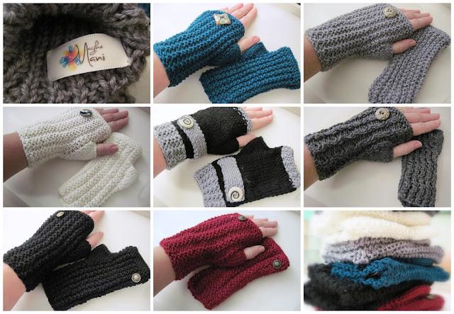 guanti senza dita  fatti a mano con bottoncino in ceramica