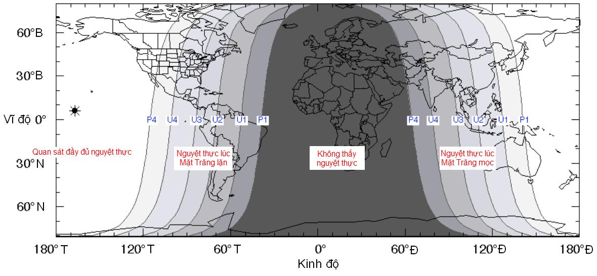 Bản đồ thế giới lúc xảy ra nguyệt thực ngày 8/10/2014. Bạn có thể thấy được Việt Nam nằm trong vùng quan sát được nguyệt thực lúc Mặt Trăng mọc.