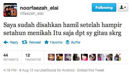 Tweet Faezah Elai Sah Hamil