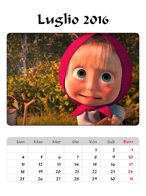 Calendario 2016 - Masha e Orso - Luglio