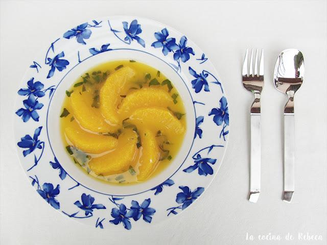 Naranjas aromatizadas en su jugo