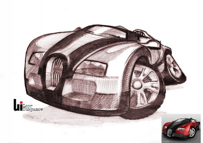car caricature, cartoon of Bugatti Veyron