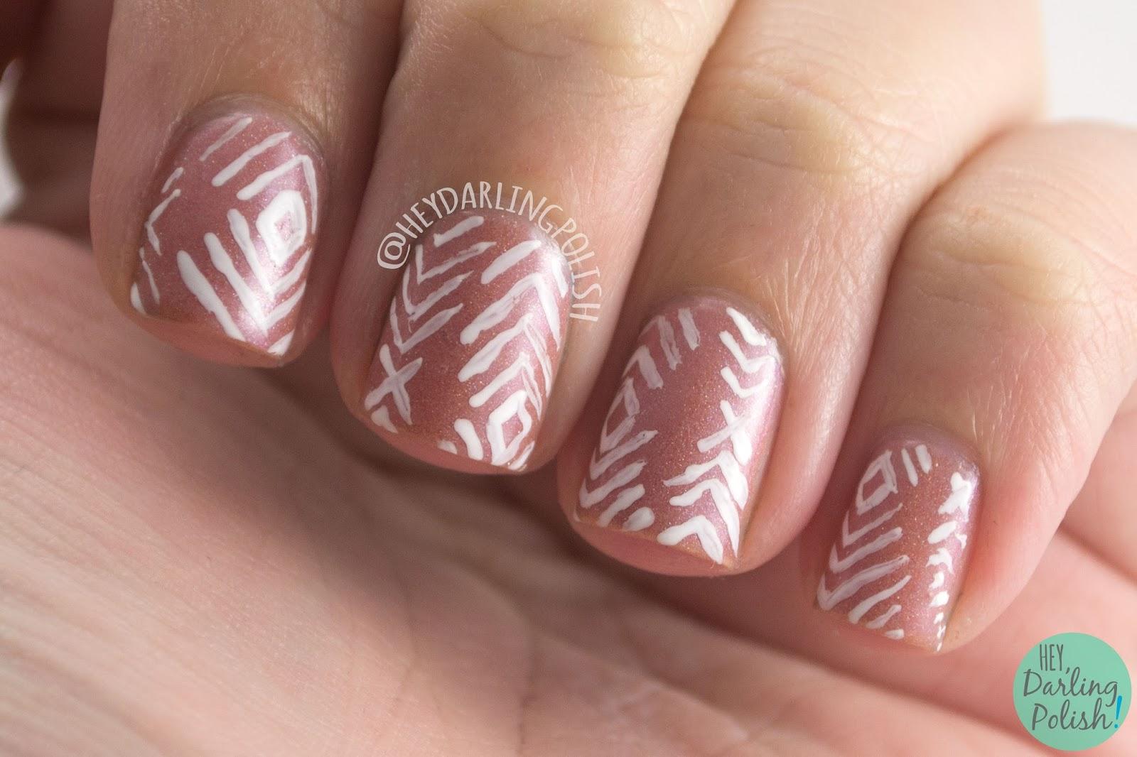 fairest of them all, nude, sparkle, pattern, nails, nail art, nail polish, indie polish, fair maiden polish, hey darling polish,