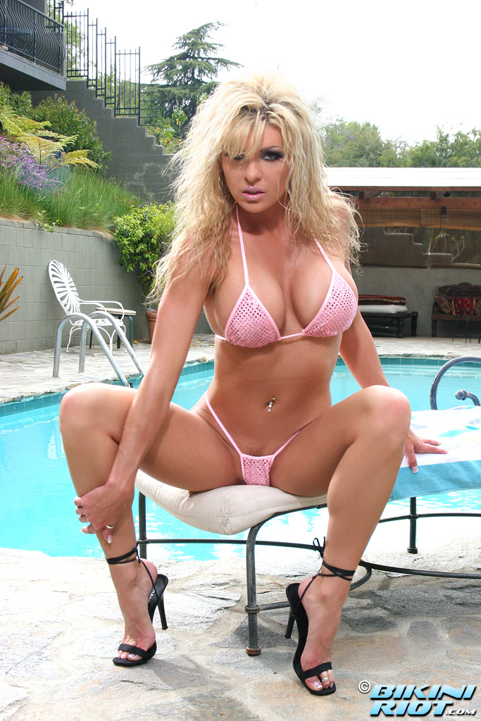 Hot sexy blonde pink bikini