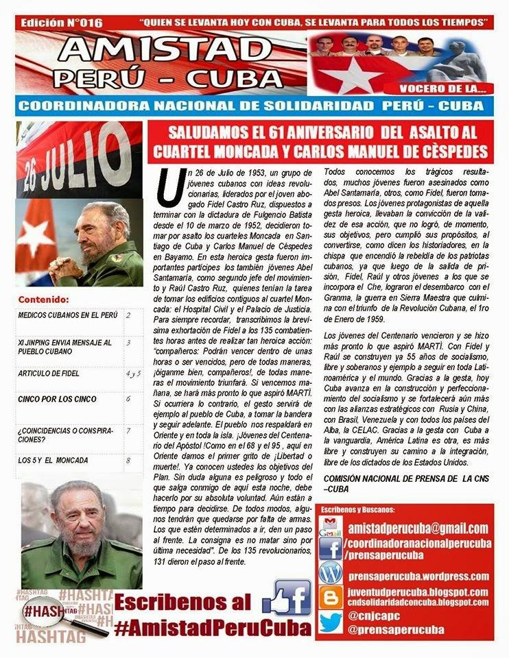 "BOLETÍN N°016 ""AMISTAD PERÚ CUBA"""