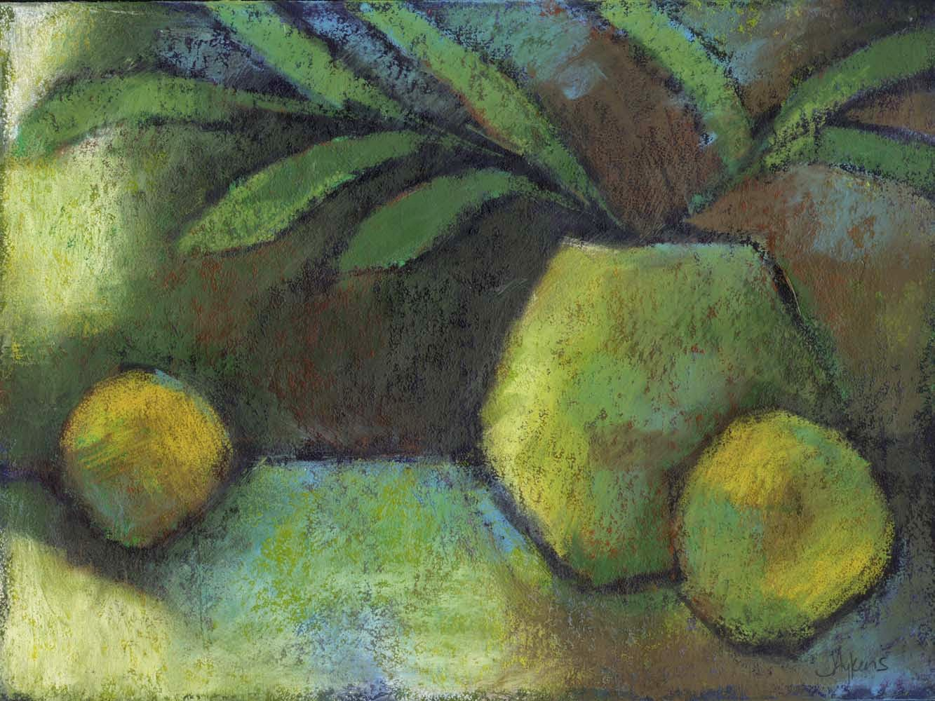 contemporary still life with yellow fruit oil on paper artist janine aykens potted plant blue yellow color scheme moody post impressionist