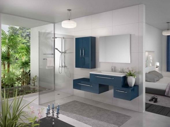 Muebles Baño Ambiente Azul:baño con muebles color azul