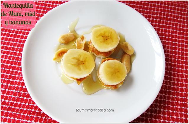 merienda mantequilla de mani, bananas y miel