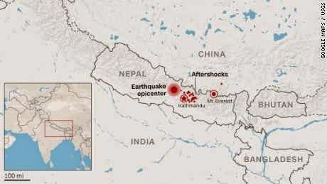 Earthquake map of Nepal