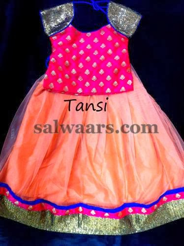 Peach Color Satin Net Lehenga