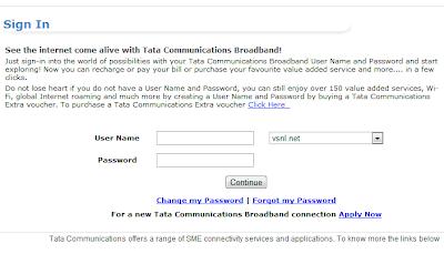 Tata Indicom Broadband login