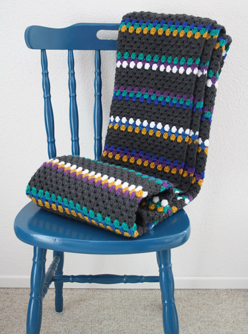 Crochet blanket: mustard