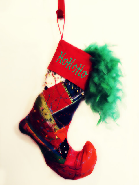 Crazy Quilt Christmas Stocking at Oak Point