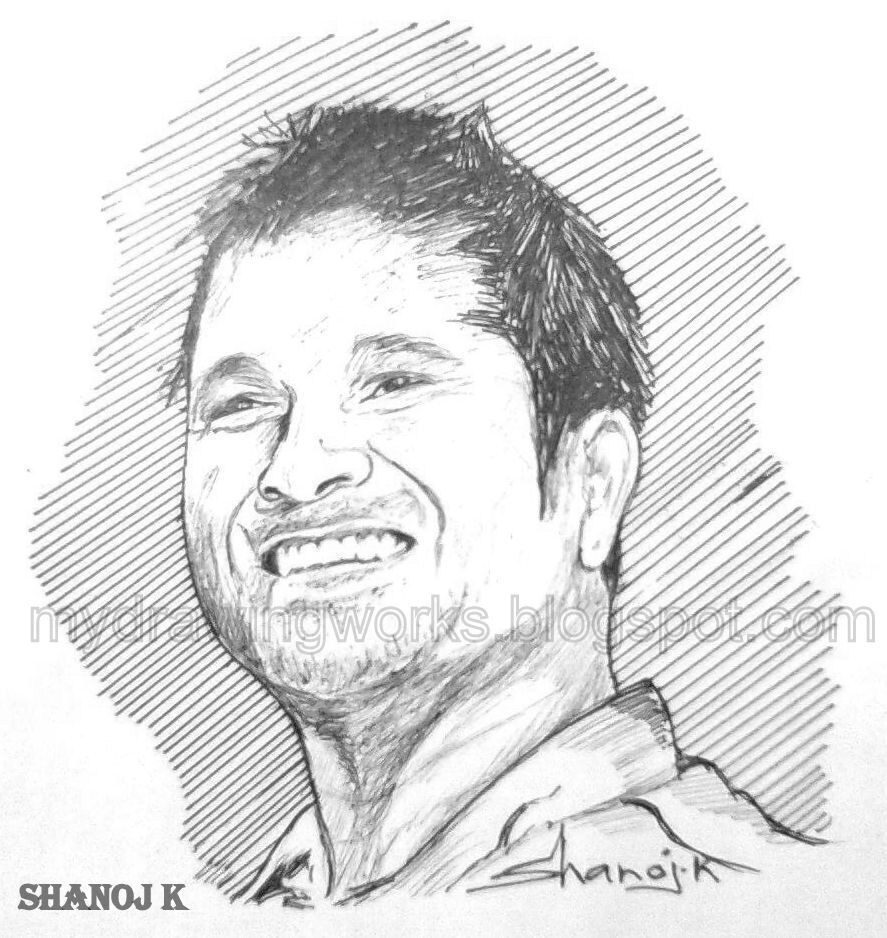 Rough sketch of indian cricketer sachin r tendulkar made using black ball point pen