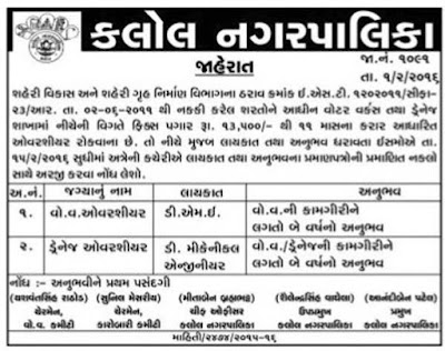Kalol Nagar Palika Overshyer Recruitment 2016