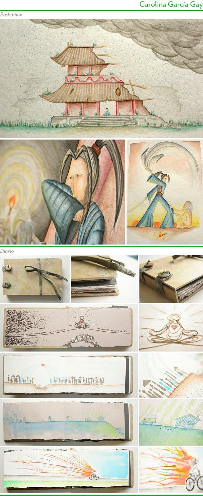 Ilustraciones de Carolina García para Rashomon y Libro personal, 2011