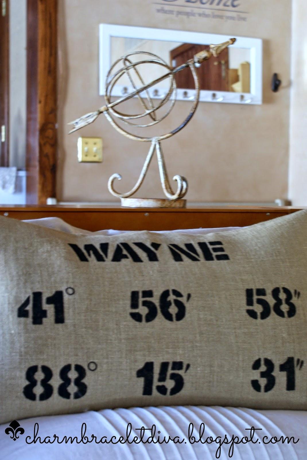 map coordinates pillow, longitude and latitude pillow