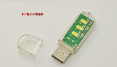 2X High quality mini 3LED USB Night Light Pocket Lamp Keychain -Green