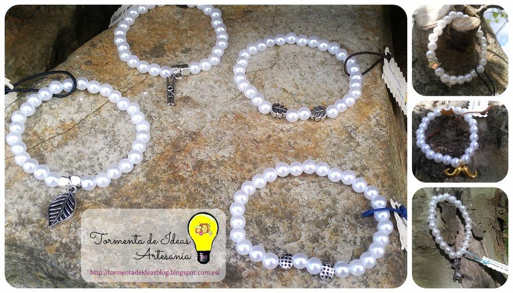 pulseras-perlas-abalorios-plateados