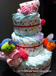 Diaper Cake with Birds of a Feather by Ida Chan Stampin Up Vancouver