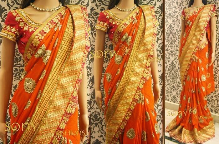 Orange Zardosi Work Saree