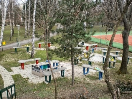 The Pit-Pat Hindernis Billard course at the Askoe Wien Wasserpark in Vienna, Austria