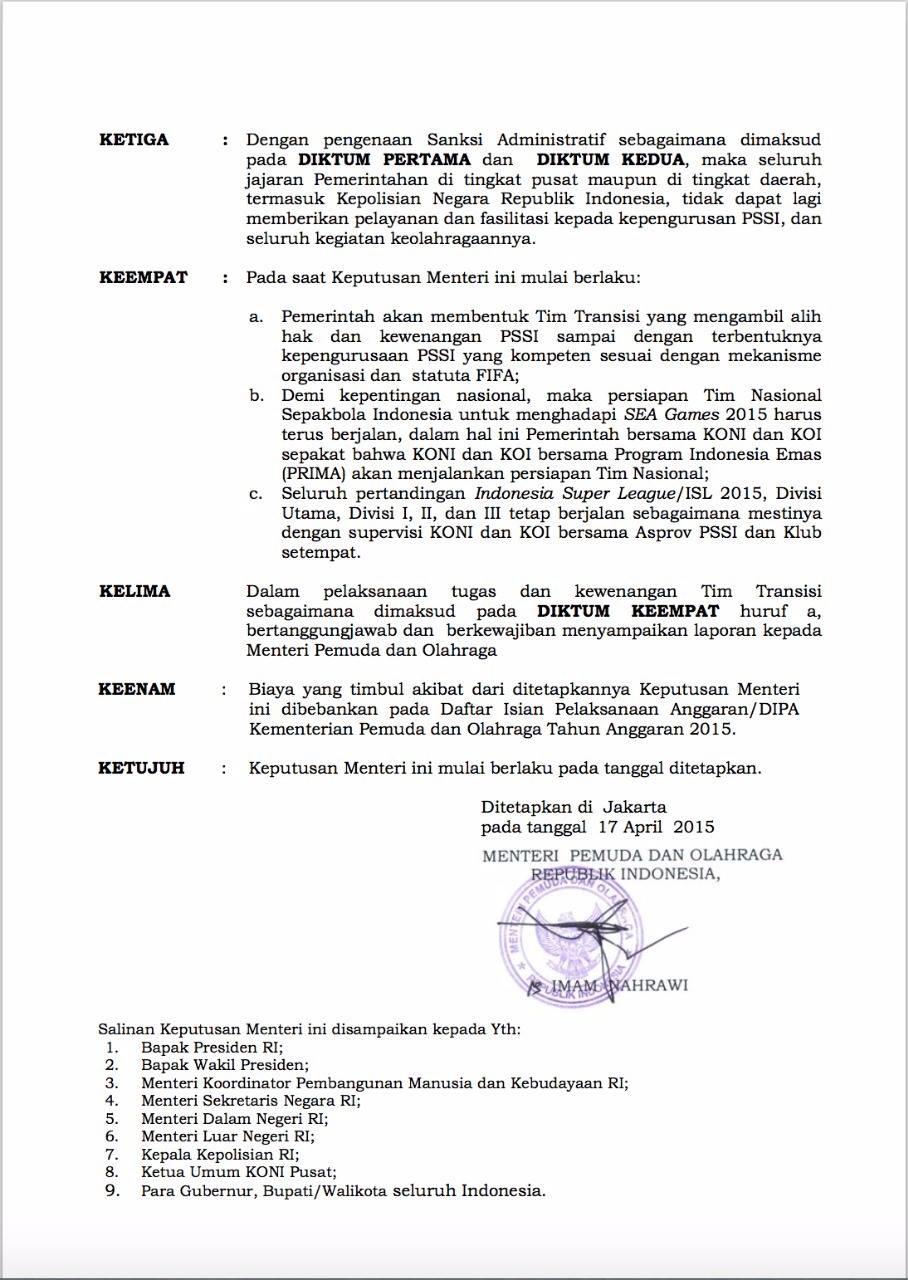 Surat Keputusan Kemenpora Bekukan PSSI