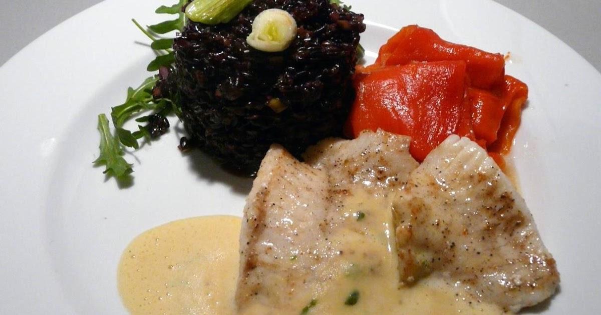kulinarische welten zu fisch und meeresfrucht steinbutt mit venere risotto an estragon butter. Black Bedroom Furniture Sets. Home Design Ideas
