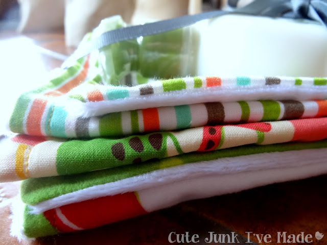 One-Hour Burp Cloths - Finished burp cloths tied up