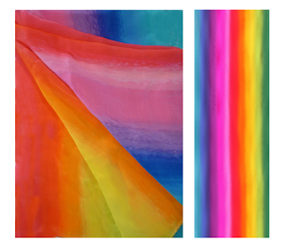 A rainbow-coloured silk scarf.