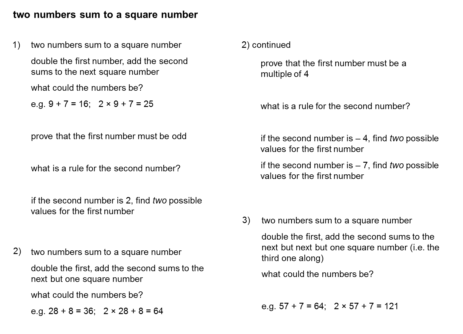 how to find sum of square number