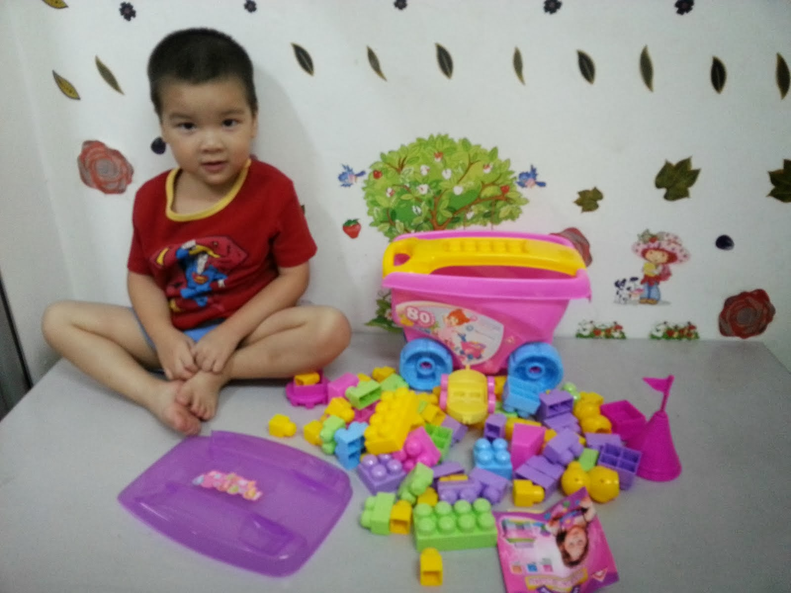 NEW pink Wagon with 80 pieces Blocks,Sale!!!RM33 only!!!