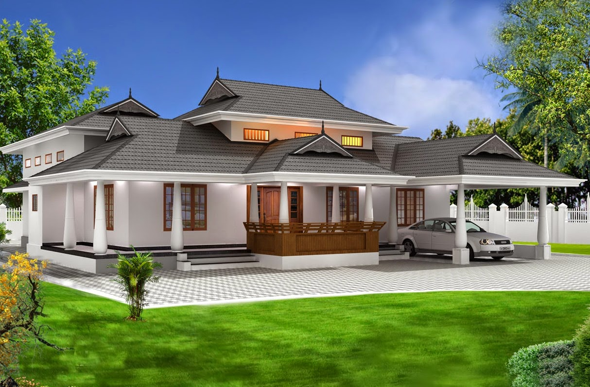 Backyard landscaping kerala traditional house designs for Kerala traditional home plans
