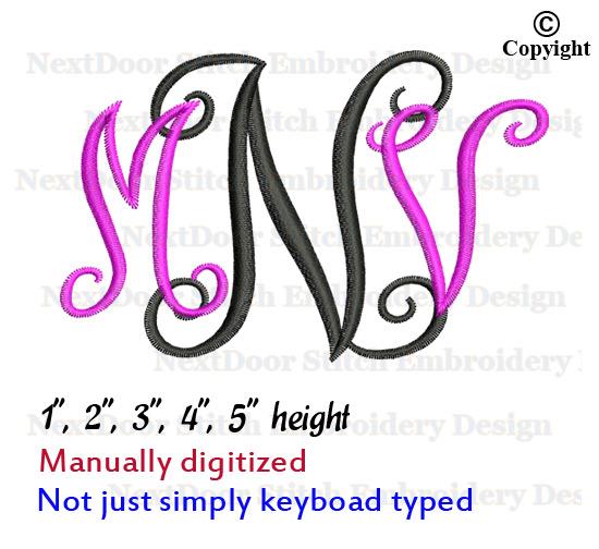 Next Door Stitch Embroidery 3 Letter Monogram Embroidery Design Vine Interlocking Alphabet Font 019