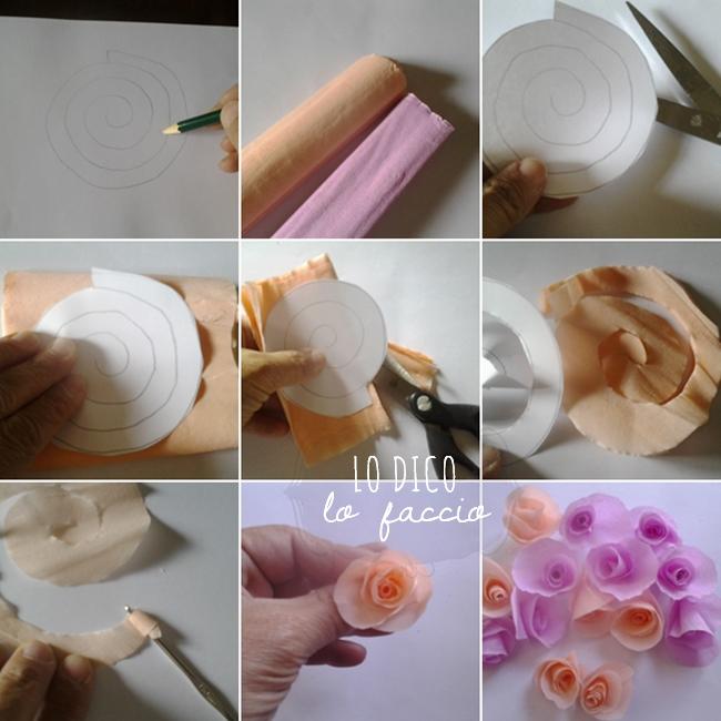Super Rose e rose, in carta crespa - tutorial ~ Lo Dico, lo Faccio FA12