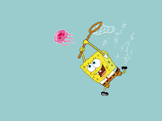 SpongeBob Chasing Jellyfish Wallpaper