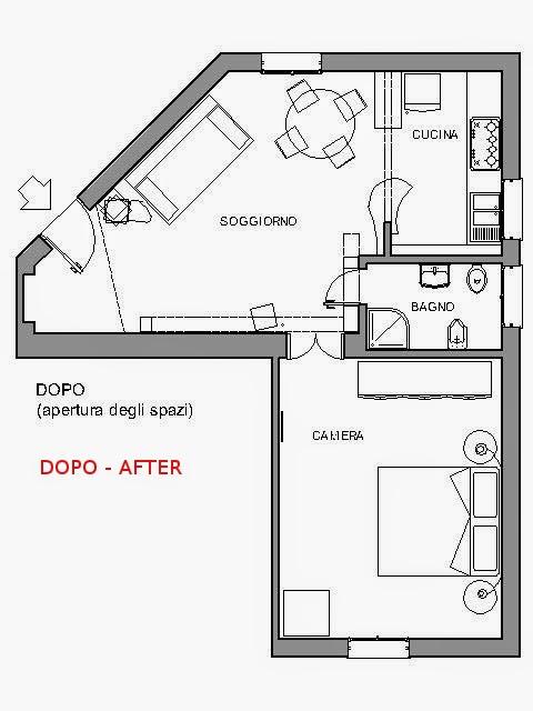 lo stesso appartamento ristrutturato aprendo gli spazi