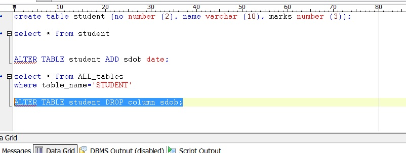 Oracle - Alter table drop column sql ...