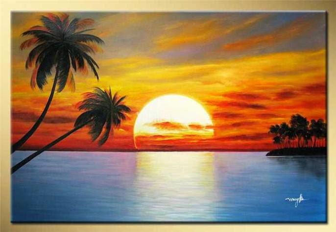 Kumpulan Lukisan Pemandangan Alam Pantai Liat Aja