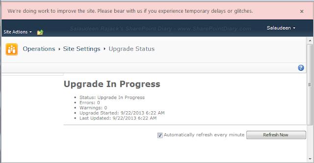 SharePoint 2013 Upgrade Progress