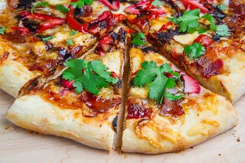 Strawberry Balsamic Pizza with Chicken, Sweet Onion and Smoked Bacon