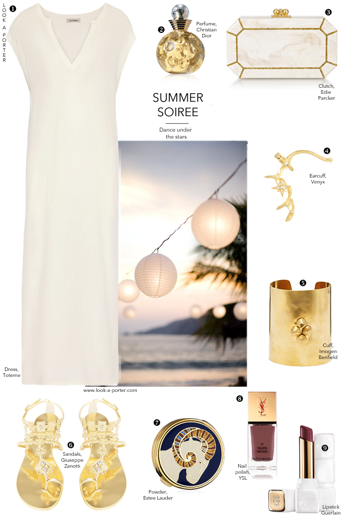 Styling simple maxi dress for a summer soiree or party on a beach... See the outfit idea on look-a-porter.com