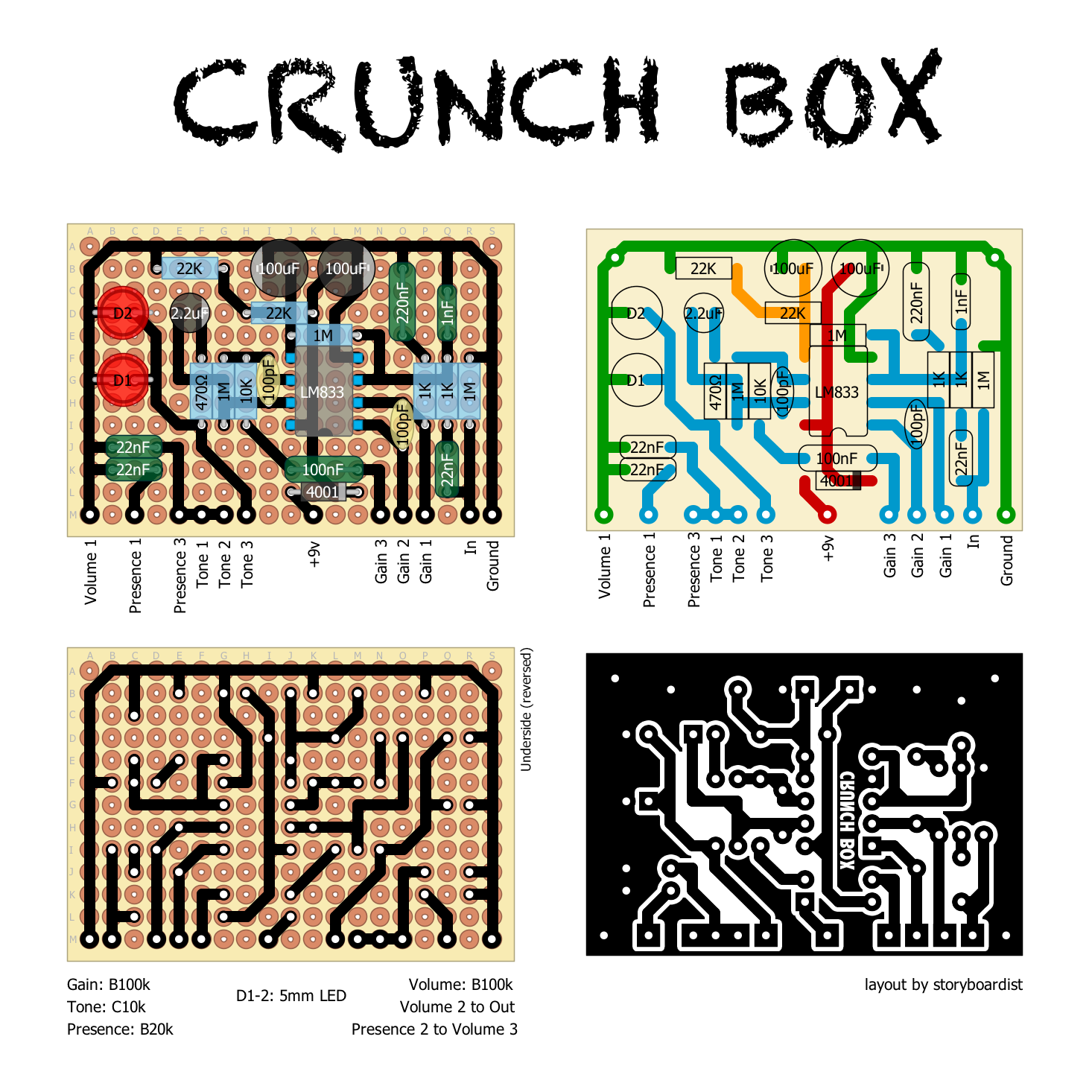 Perf and PCB Effects Layouts: MI Audio Crunch Box