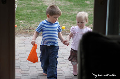 Kirsten holding hands with her friend, Vincent