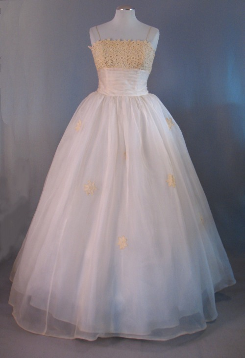 1950s Silk Organza Wedding Or Evening Gown Inspired By Elizabeth Taylor